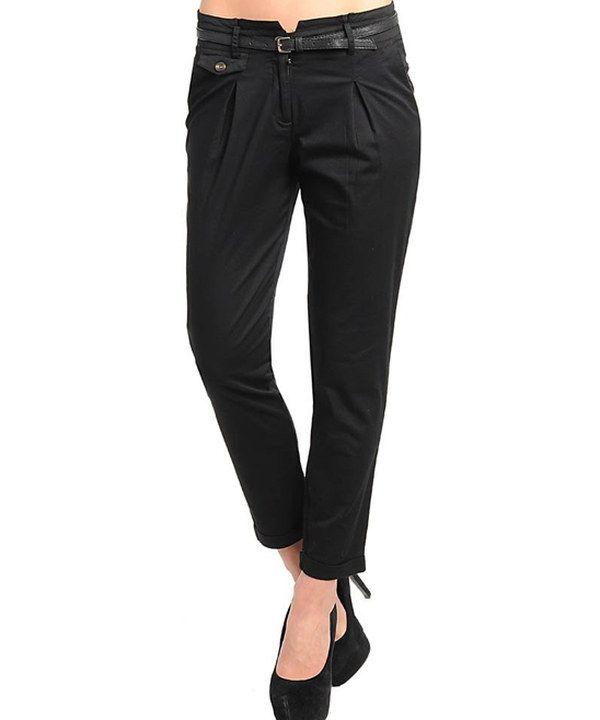 Black belted cigarette pants