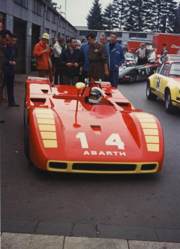 Arturo Merzario's Abarth 2000 SP in the paddock at the 500 Kms Race 1970