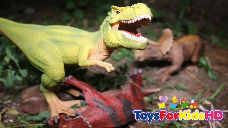 Dinosaurios para niños Tyrannosaurus Rex v/s Pentaceratops  Aventura de Dinosaurios de Juguete