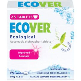 Better to wash by hand...but if you're into dishwashers: Eco Automatic Dishwasher Tablets