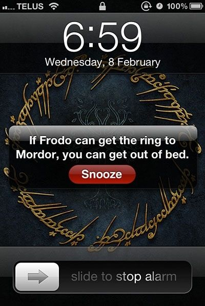 Lord of the Rings Alarm - yes, but I don't have Aragorn or Legolas or Boromir or Pippin or even Sam to help me :-/