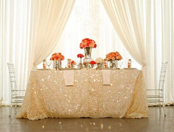 bride groom table glitter table cloth or runner