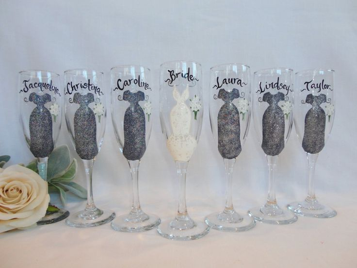 """EXACT DRESS REPLICA"""" Hand Painted Bridesmaid Wine Glasses, Bridesmaid Gifts, Painted Bridesmaid Glasses, Silver Dress, Bridesmaid Wine Glass by samdesigns22 on Etsy"""