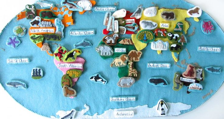Incredible DIY felt world map from Imagine Our Life - with free patterns and lots of free three part cards