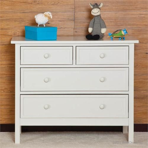 Contemporary Kids Dresser White Color With 4 Drawers