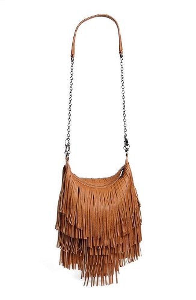 Steve Madden Handbag Bmocha Fringe Crossbody Bag Cognac