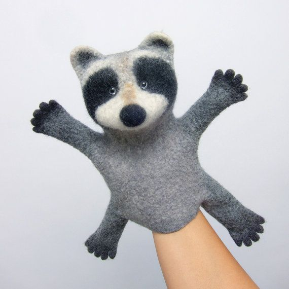 the raccoon hand puppet, wet felted. MADE TO ORDER