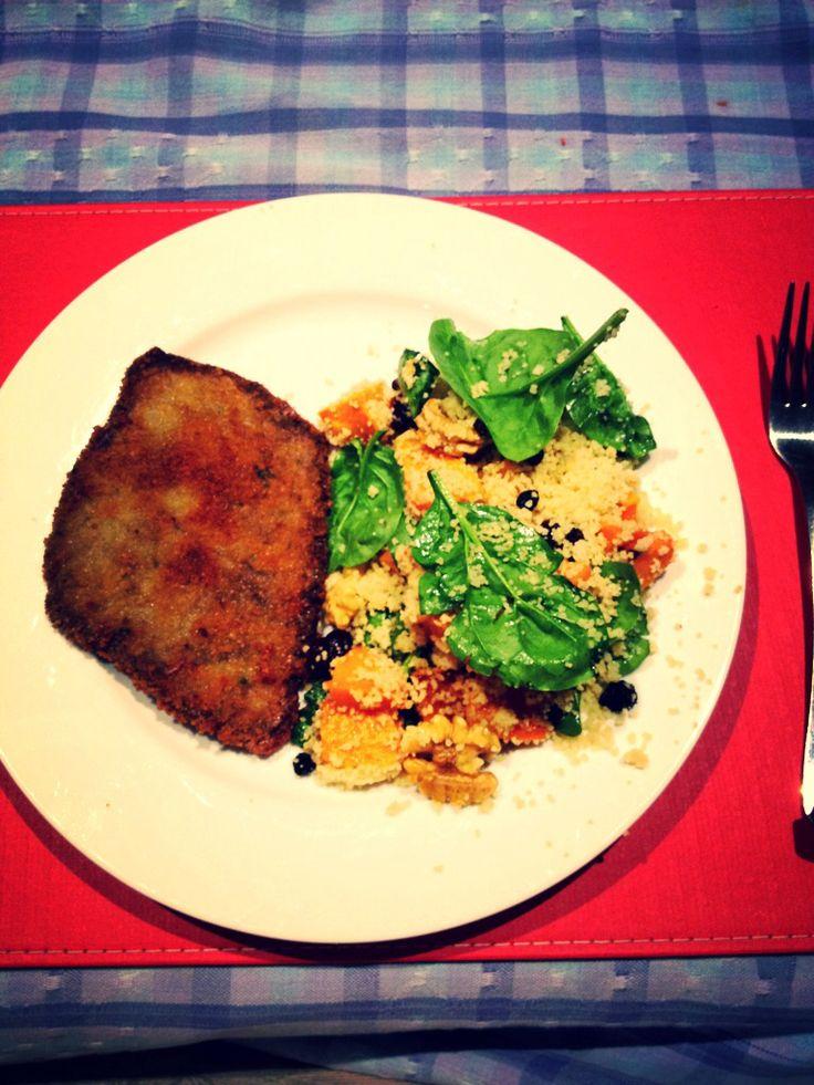 Daniel's schnitzel & Cous Cous salad
