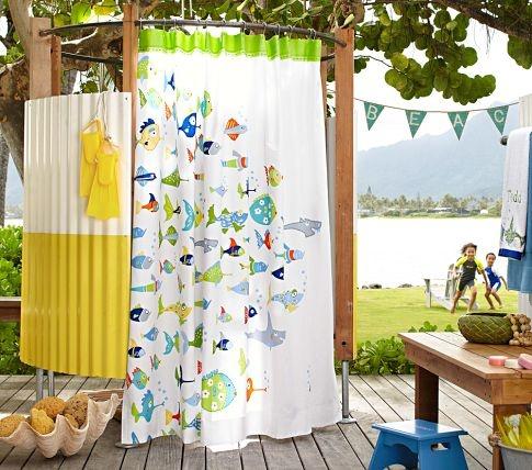 Shower Curtain: Kids Bathroom, Outdoor Showers, Bathroom Idea, Pottery Barn Kids, Children, Fish Shower, Shower Curtains, Kid Bathrooms, Funny Fish