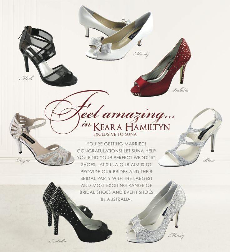 Bridal and Bridesmaids shoes available at Suna Shoes.  Feel amazing in 'Keara Hamiltyn' shoes.
