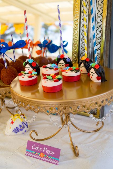 Cake pops at a Frida Kahlo party. See more party ideas at CatchMyParty.com. #fridakahloparty
