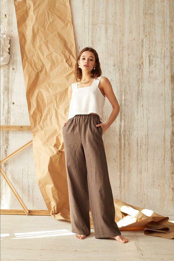 Women pants Palazzo pants Lounge pants Women yoga pants Flow pants Natural  pants women Natural Clothing