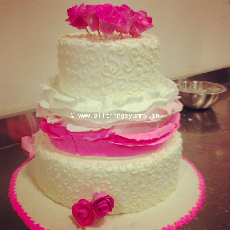 Wedding Cakes - 3 Tier White Fondant Wedding Cake with White and Pink Buttercream Icing and  Pink Roses, Hot Pink Roses Decor   All Things Yummy #allthingsyummy #white #wedding #cakes #rosettes #decor