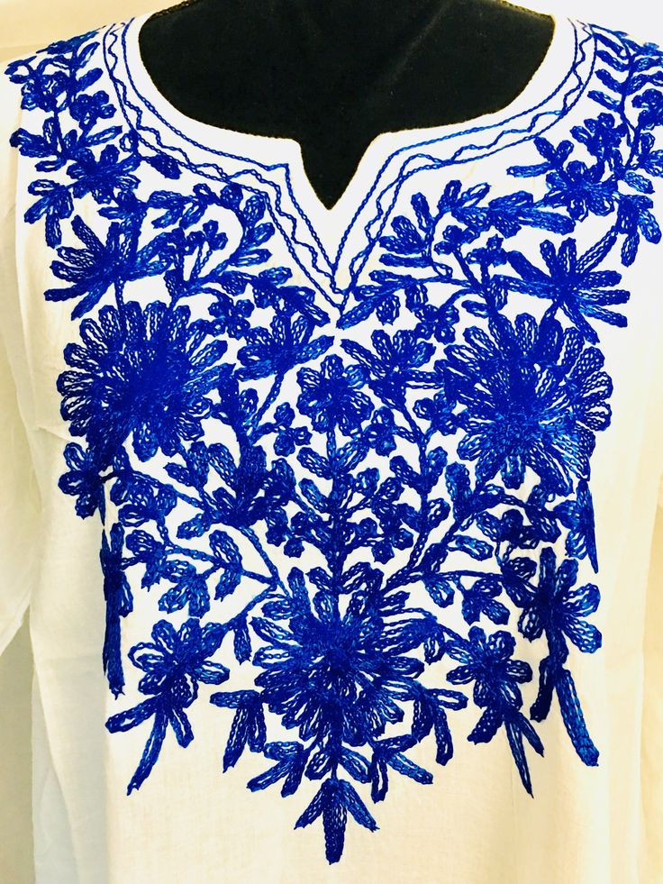 Excited to share the latest addition to my #etsy shop: Cotton tunic, Kurti, Kurta, top, cover up, hand embroidered, floral, ethnic, Indian, boho, Mexican tunic white blue Large long sleeve