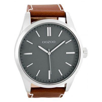 Zeitlose Herrenuhr mit Lederarmband.  https://www.uhrcenter.de/uhren/oozoo/timepieces/oozoo-herren-armbanduhr-grau-braun-c7841/
