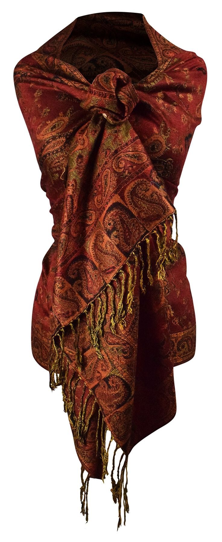 #Farbbberatung #Stilberatung #Farbenreich mit www.farben-reich.com Peach Couture Reversible Paisley Pashmina Shawl Wrap in Elegant Colors (Maroon) at Amazon Women's Clothing store: Women S Maroon Scarf