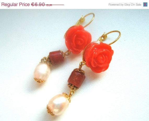 ON SALE Earrings Victorian style with cloisonné beads by LeSirenes, €5.52