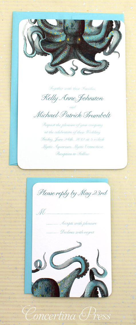 lovely blue green octopus wedding invitations with scientific illustrations by Concertina Press