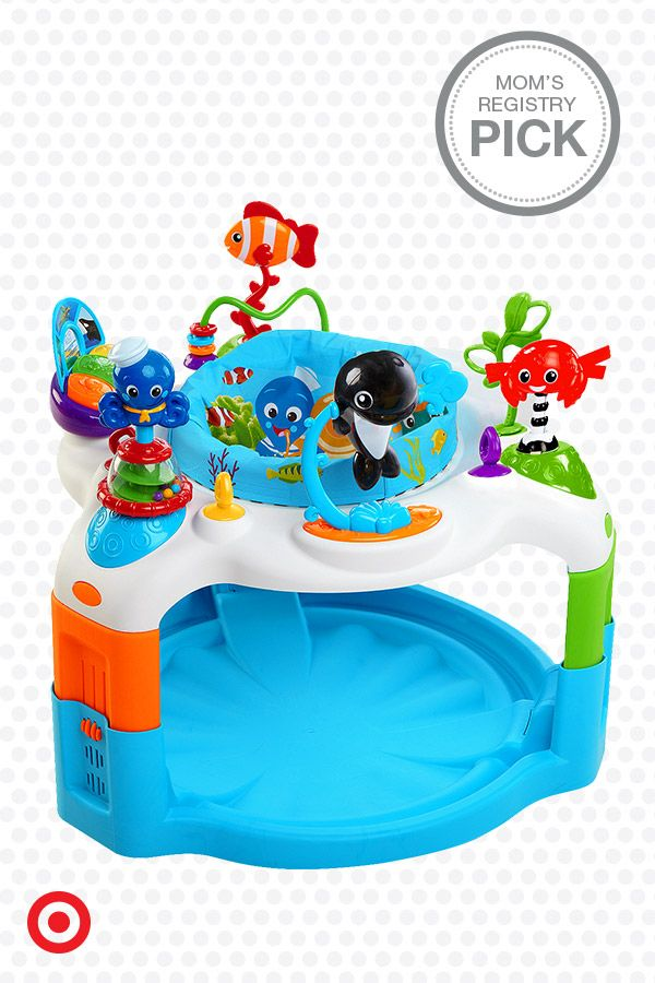 Swimming with activities, your baby will love the Baby Einstein Rhythm of the Reef Activity Saucer. It features over 11 activities and a 360-degree rotating seat so Baby can reach all the ocean-themed toys and experience ocean sounds, classical melodies and lights.