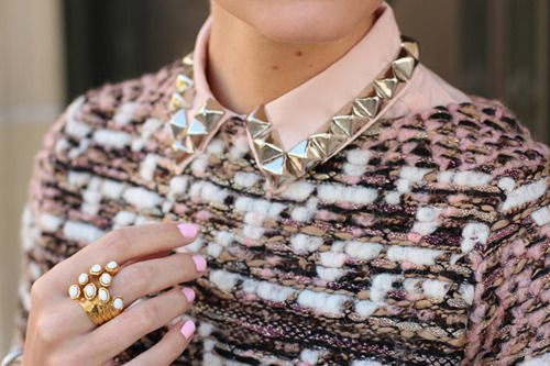 collar cutenessStuds Collars, Pastel, Sweaters, Fashion, Diy Collars, Street Style, Rings, Pink, Nails