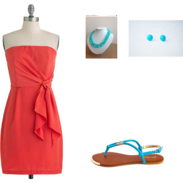 """""""coral bridesmaid with teal accent"""" by madihankinson on Polyvore"""