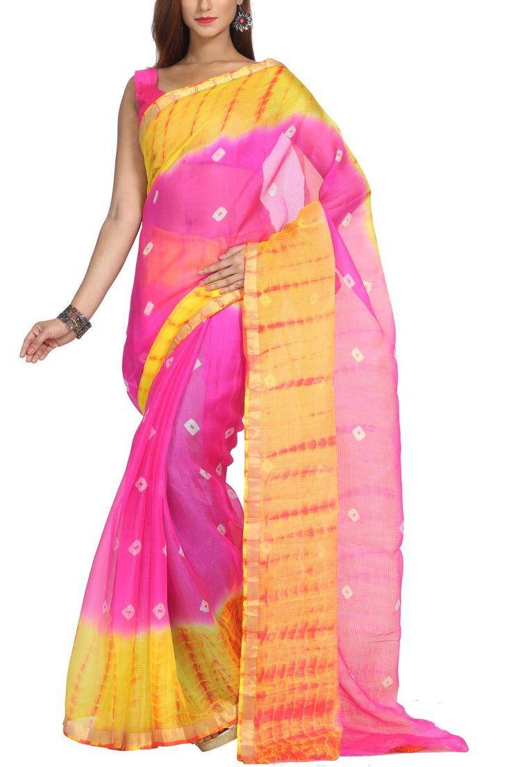 Hollywood Pink & Amber Zari Border Kota Silk Bandhej Saree