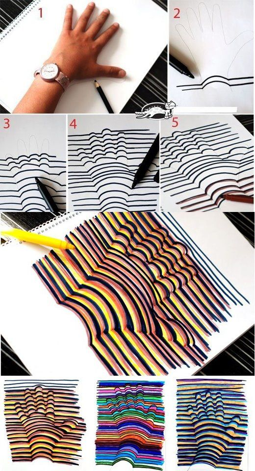 cool art project.: Hands Prints, Drawings Techniques, Idea, Op Art, Art Projects, Hands Drawings, Hands Art, Kid, 3D Hands