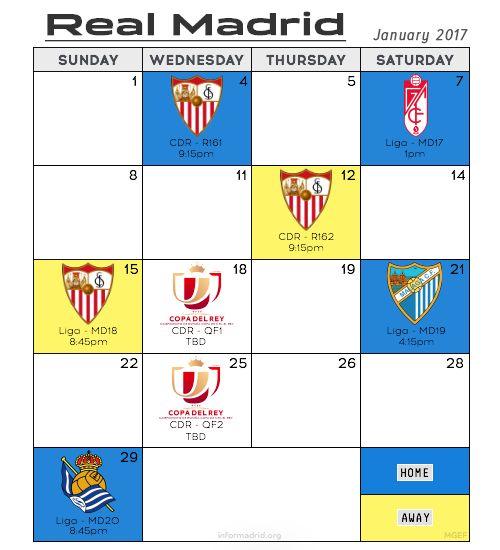 Real Madrid fixtures: January 2017 - All times CET - Wed, Jan 4: Sevilla (CdR - R161) | 9:15pm ⌂ - Sat, Jan 7: Granada (Liga - MD17) | 1pm ⌂ - Thu, Jan 12: Sevilla (CdR - R162) | 9:15pm ✈︎ - Fri, Jan 13: Copa del Rey QF draw | TBD - Sun, Jan 15:...