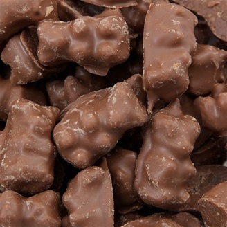 Chocolate Covered Gummy Bears Brighten your day and satisfy your sweets craving with a Sugar Factory collectible container of your choice filled with these delicious chocolate treats. Price:: $15.00