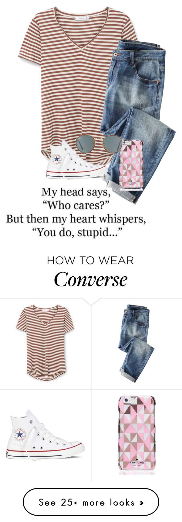 """""""i really really really really really really like you"""" by theperksofbeinghope on Polyvore featuring MANGO, Wrap, Kate Spade, Converse and Ray-Ban"""