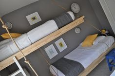 """Hanging"" bunk beds! If you or someone you know is good with a drill and saw, this is a super easy and cheap project! And my son LOVES his room with the loft bed! We did edit it to have a wooden rail for safety. One of my favorite projects from Pinterest to date! Only about $30 for all materials."