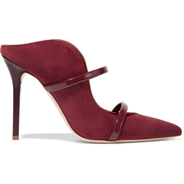 Malone Souliers Maureen patent leather-trimmed suede mules (1,840 PEN) ❤ liked on Polyvore featuring shoes and burgundy