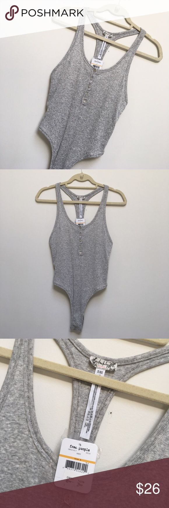 NWT Free People Body Suit New with tags never used never worn free people grey body suit. Size small Free People Tops