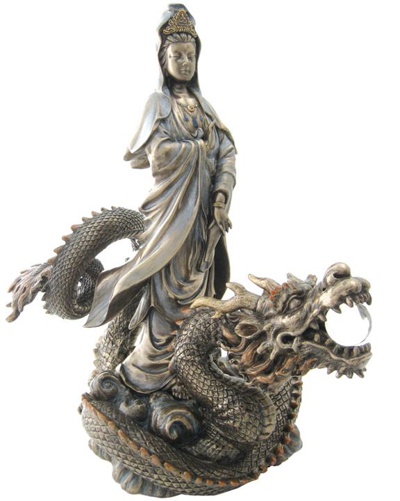 Resin Quan Yin Riding On A Dragon, -- 13 Inches $130. ----- WANT!! ----- (*sigh* NFS anymore :-(