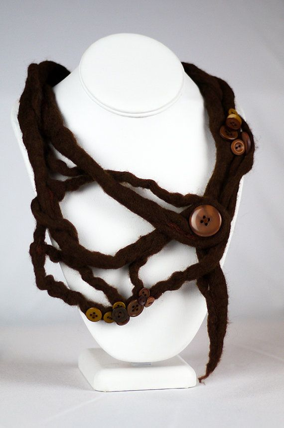 Knotted Tree Root Felted Necklace with Button Accents $56 by CorbeauxPDX