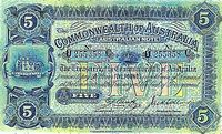 The five pound note showed a scene of the Hawkesbury River near Brooklyn, New South Wales. This town originally housed workers who built the Hawkesbury River Railway Bridge in 1889, then the longest such bridge in Australia.