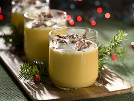 Uncle Billy's Holiday Treat    1-1/2 oz. Bols Advocaat liqueur (creamy blend of egg yolks, aromatic spirits, brandy and a hint of vanilla)   1 oz. Kahlua coffee liqueur   1 oz. Frangelico hazelnut liqueur   1/2 oz. honey   1/2 oz. whipped cream