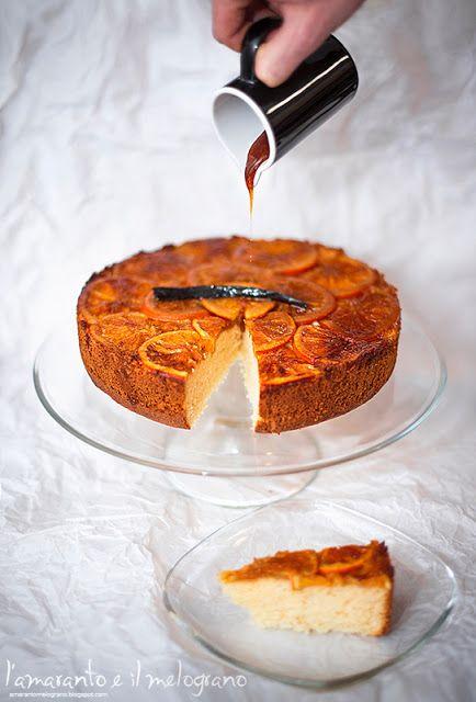 L'amaranto e il melograno: Orange upside down cake on footed #cake #plate