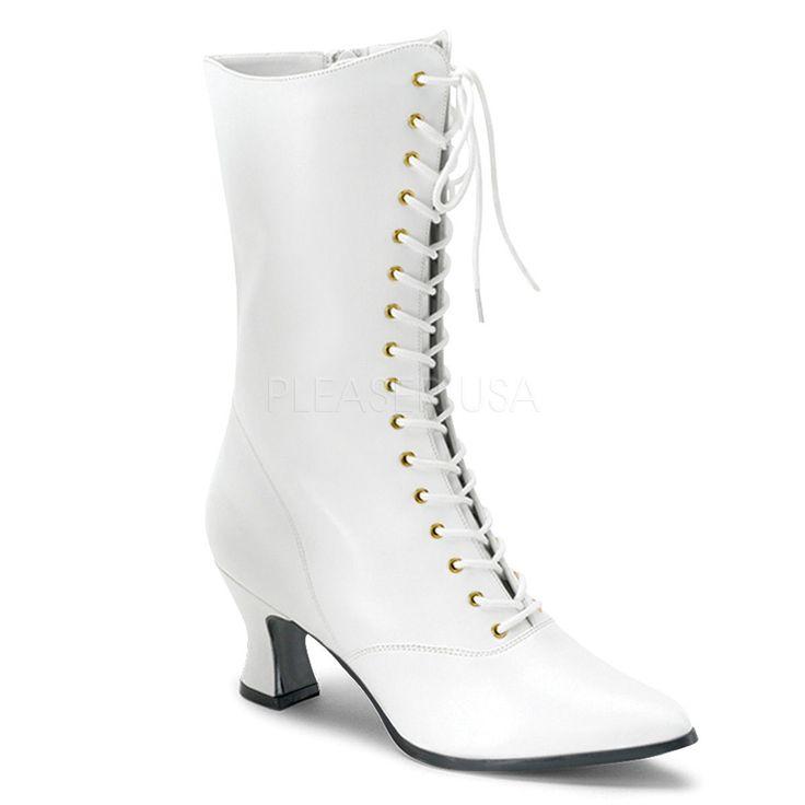 VIC120 W PU Old Fashioned Wedding Granny White Victorian Era Costume Calf Boots