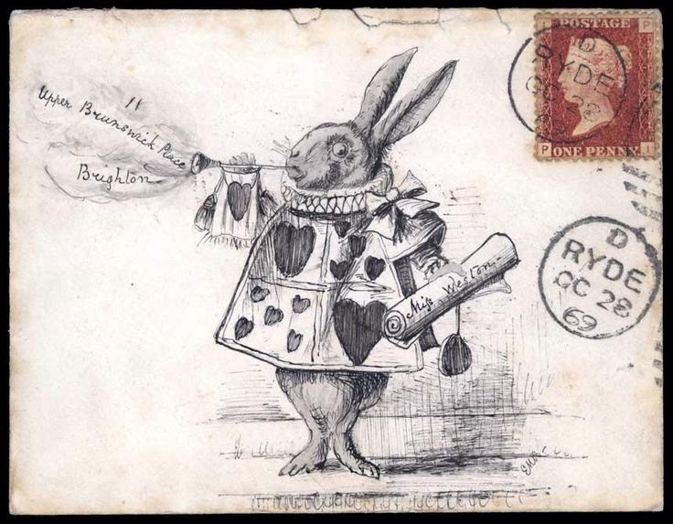 "Alice in Wonderland. Hand-drawn design depicting the white rabbit blowing on a trumpet, Great Britain 1p Red tied by ""Ryde OC 28, 1869"" circular datestamp to Brighton, receiving backstamp, ex Shaida"
