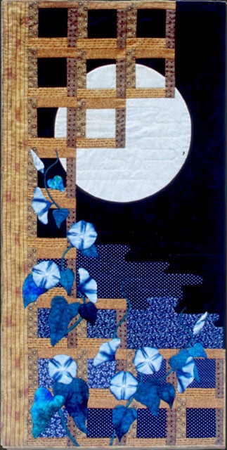"""Sometimes the moonflower vines long for crowds, inch their way up wrought-iron balconies to catch a glimpse of beds, screens, mirrors. (from """"Rituals of Summer"""" by Su Layug)  Moonflower (quilt by Helene Knott)"""