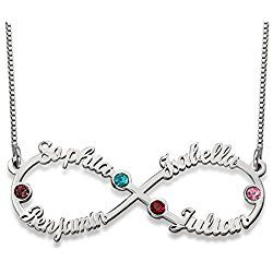 Infinity Four Name Necklace in Silver with Birthstones - Personalized - great Valentine's day gift