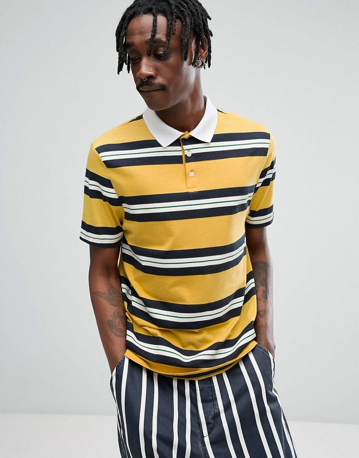 ASOS Relaxed Rugby Polo Shirt In Yellow Retro Stripe - Yellow