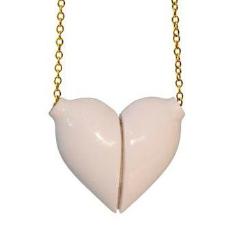 Large White Heart Necklace | Long Gold Chain via studiokahn. Click on the image…