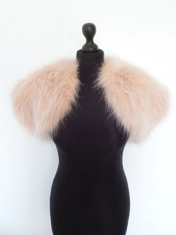 blush fur bolero, pink fur wrap, faux fur, bridal shrug, pale pink, peach tint, shawl, stole