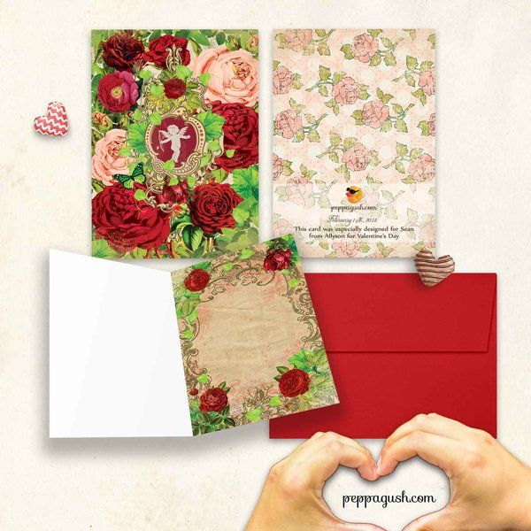 Personalized vintage valentine Folded Card. 3 sides. Available in Cardstock, and instant PDF file via email with no envelope