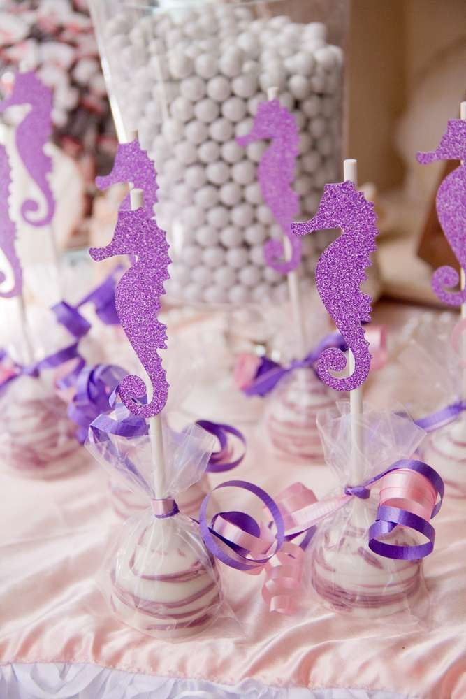 Purple cake pops at a mermaid birthday party! See more party ideas at CatchMyParty.com!