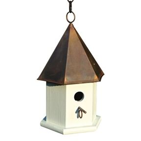 Best This White Wood Songbird Birdhouse With Brown Copper Roof 400 x 300