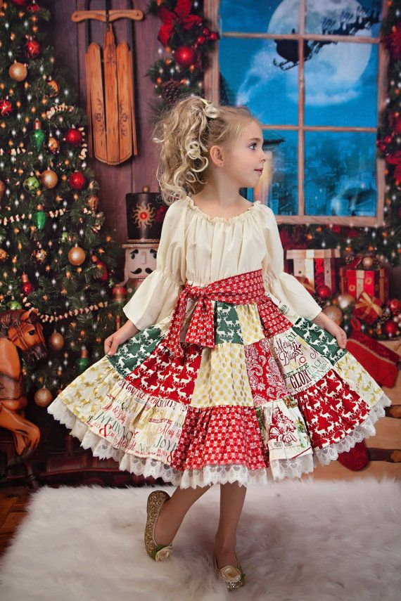 Girls Christmas Patchwork Dress sizes 6 months to by SunLoveShirts