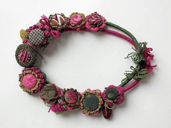 Green fuchsia crochet necklace with fabric buttons by rRradionica, €80.00